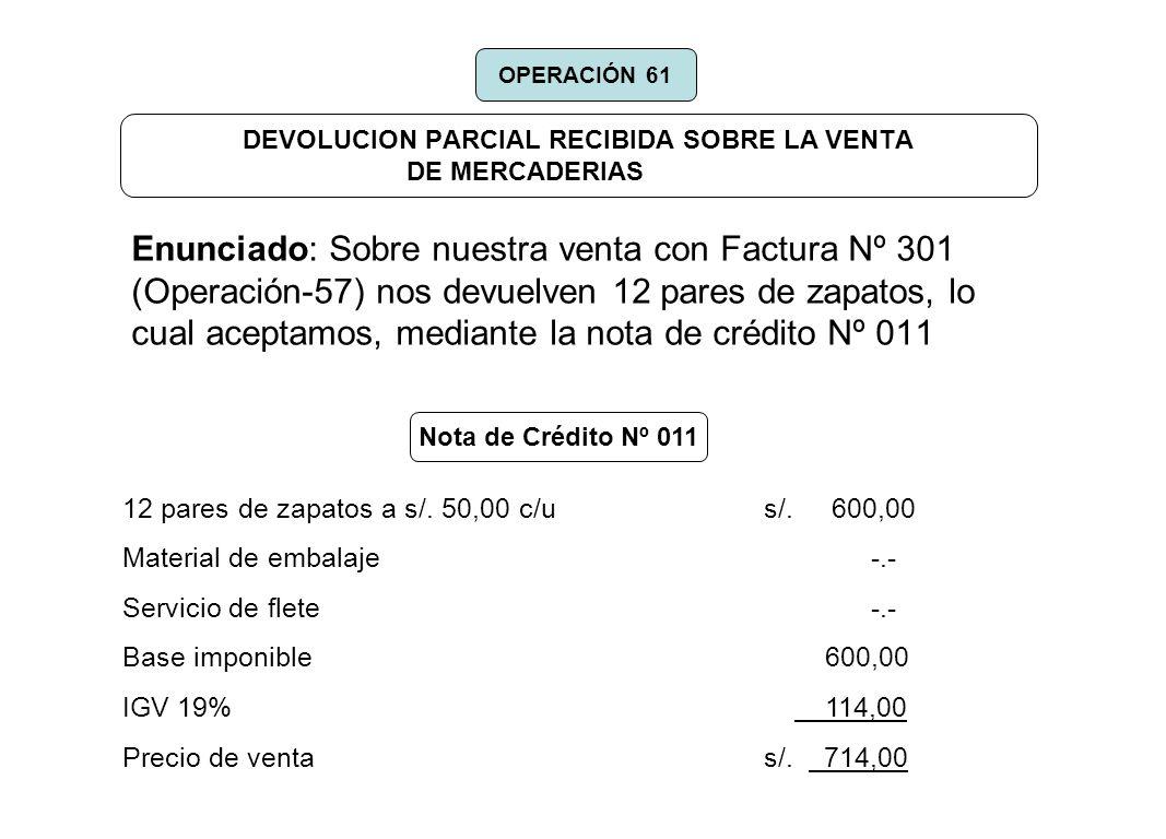DEVOLUCION PARCIAL RECIBIDA SOBRE LA VENTA DE MERCADERIAS