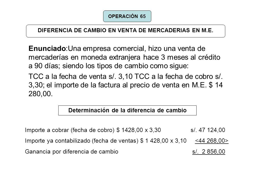 DIFERENCIA DE CAMBIO EN VENTA DE MERCADERIAS EN M.E.
