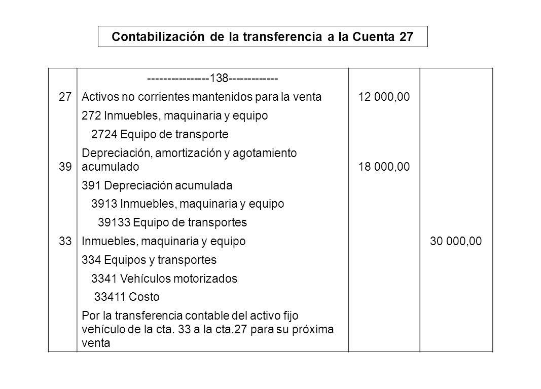 Contabilización de la transferencia a la Cuenta 27