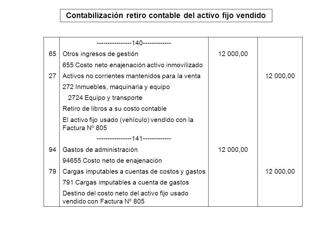 Contabilización retiro contable del activo fijo vendido