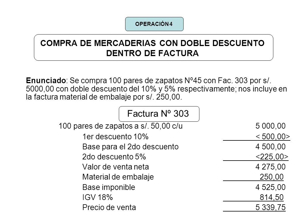 COMPRA DE MERCADERIAS CON DOBLE DESCUENTO DENTRO DE FACTURA