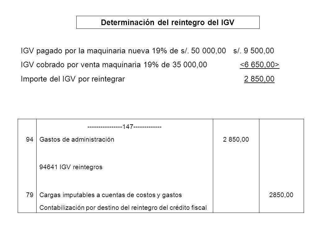 Determinación del reintegro del IGV