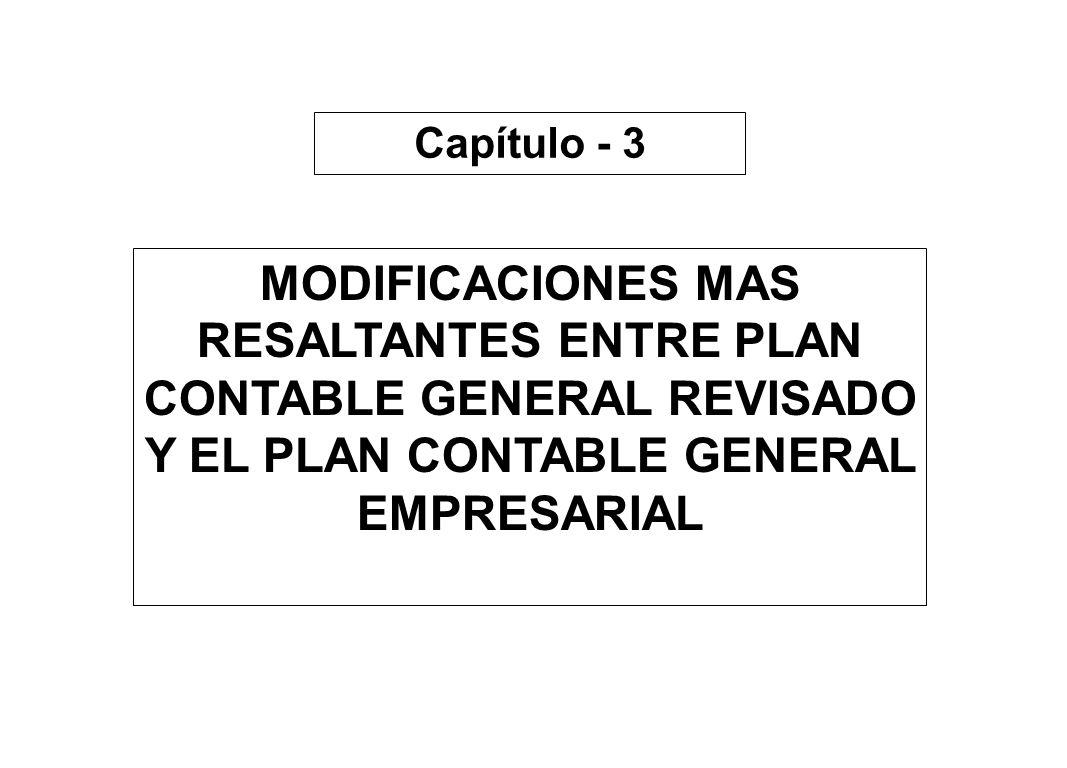 Capítulo - 3MODIFICACIONES MAS RESALTANTES ENTRE PLAN CONTABLE GENERAL REVISADO Y EL PLAN CONTABLE GENERAL EMPRESARIAL.