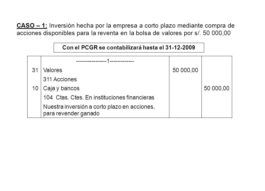 Con el PCGR se contabilizará hasta el 31-12-2009