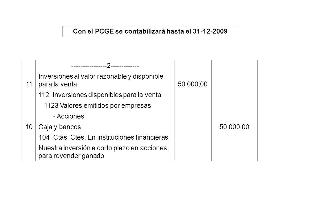 Con el PCGE se contabilizará hasta el 31-12-2009