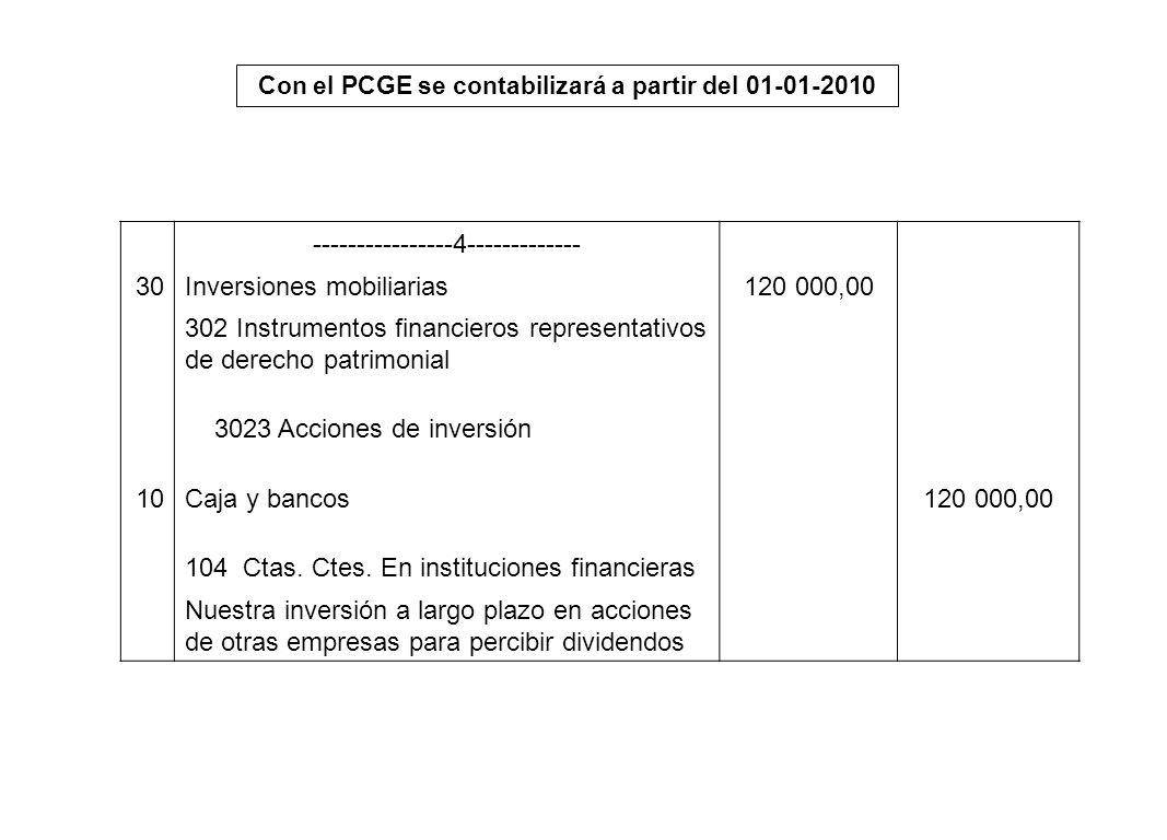 Con el PCGE se contabilizará a partir del 01-01-2010