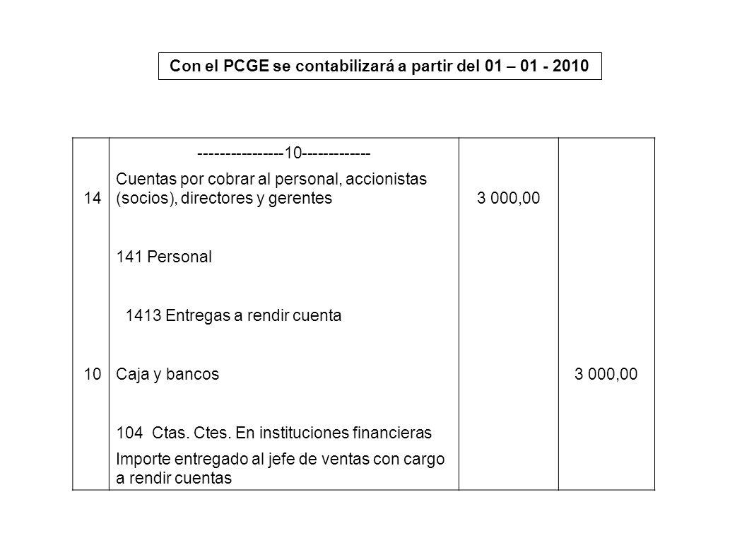 Con el PCGE se contabilizará a partir del 01 – 01 - 2010
