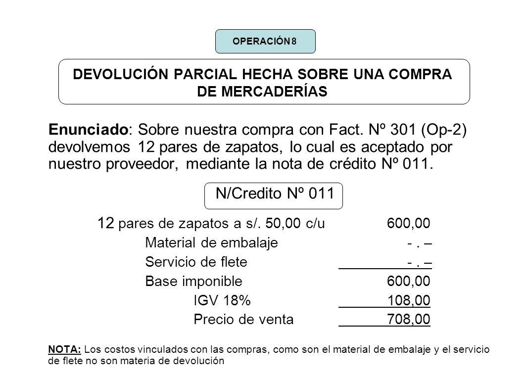 DEVOLUCIÓN PARCIAL HECHA SOBRE UNA COMPRA DE MERCADERÍAS