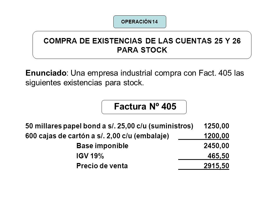 COMPRA DE EXISTENCIAS DE LAS CUENTAS 25 Y 26 PARA STOCK