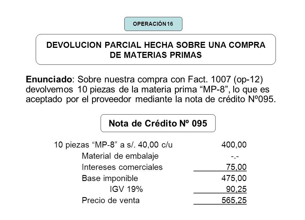 DEVOLUCION PARCIAL HECHA SOBRE UNA COMPRA DE MATERIAS PRIMAS