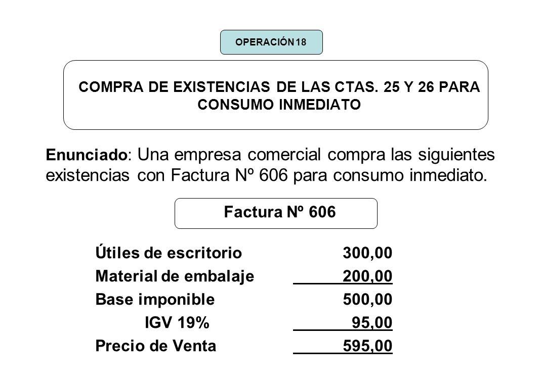 COMPRA DE EXISTENCIAS DE LAS CTAS. 25 Y 26 PARA CONSUMO INMEDIATO