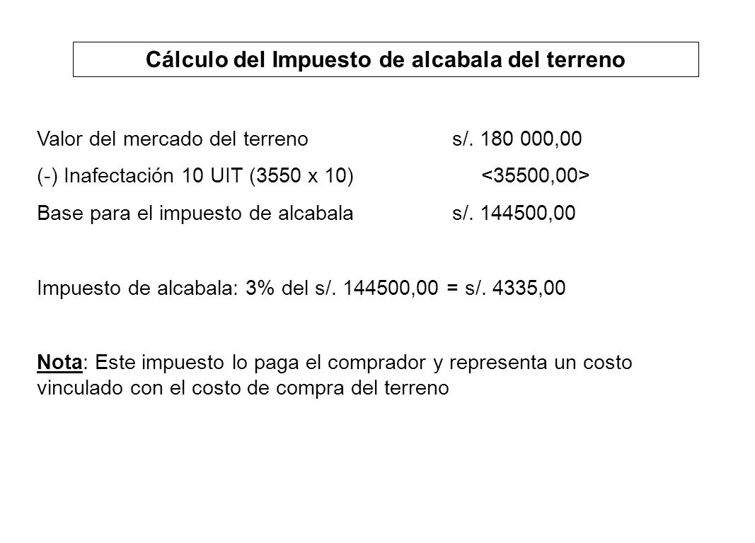 Cálculo del Impuesto de alcabala del terreno