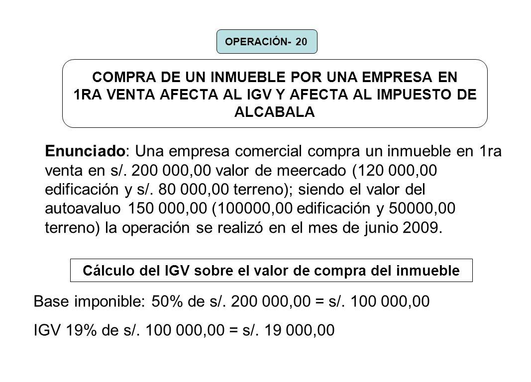 Cálculo del IGV sobre el valor de compra del inmueble
