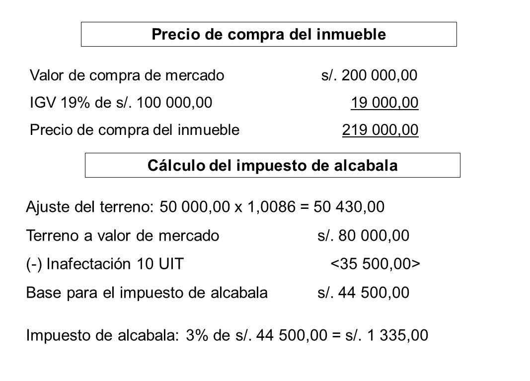 Precio de compra del inmueble Cálculo del impuesto de alcabala