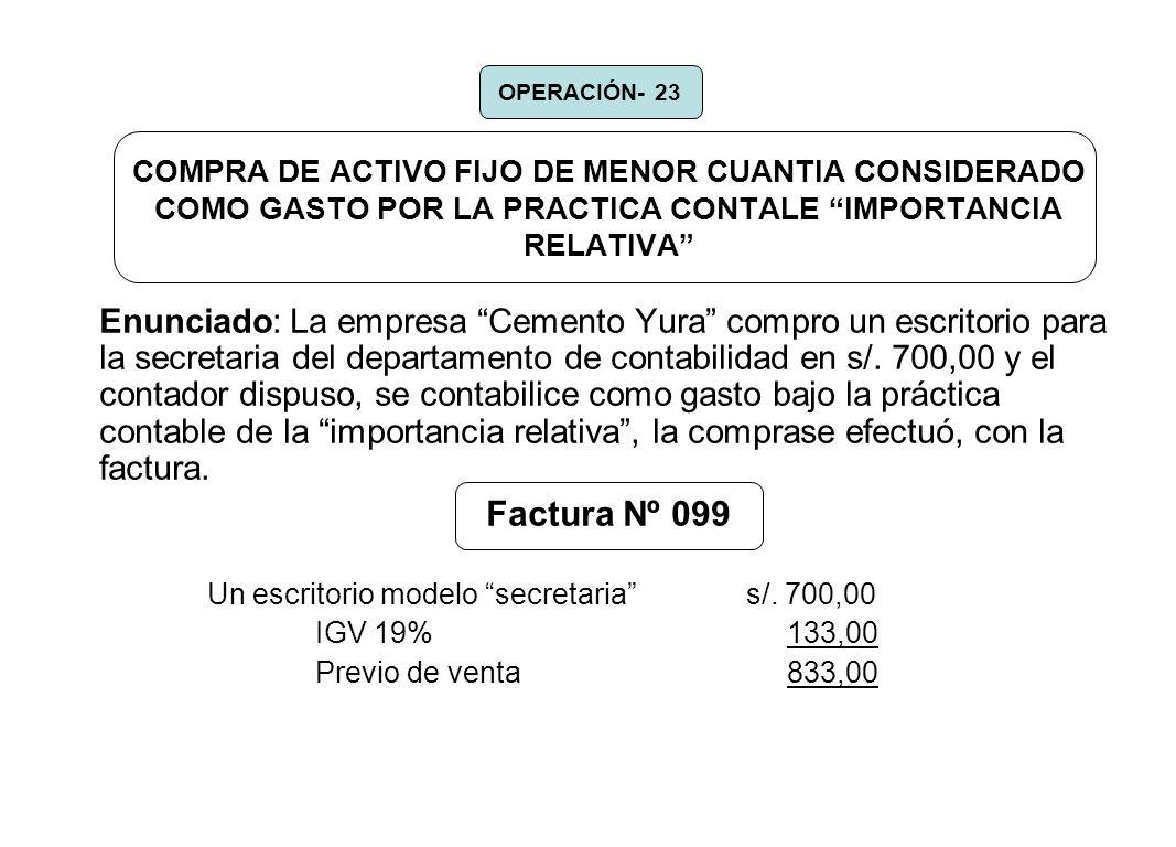 OPERACIÓN- 23 COMPRA DE ACTIVO FIJO DE MENOR CUANTIA CONSIDERADO COMO GASTO POR LA PRACTICA CONTALE IMPORTANCIA RELATIVA