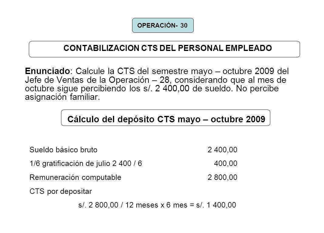 CONTABILIZACION CTS DEL PERSONAL EMPLEADO
