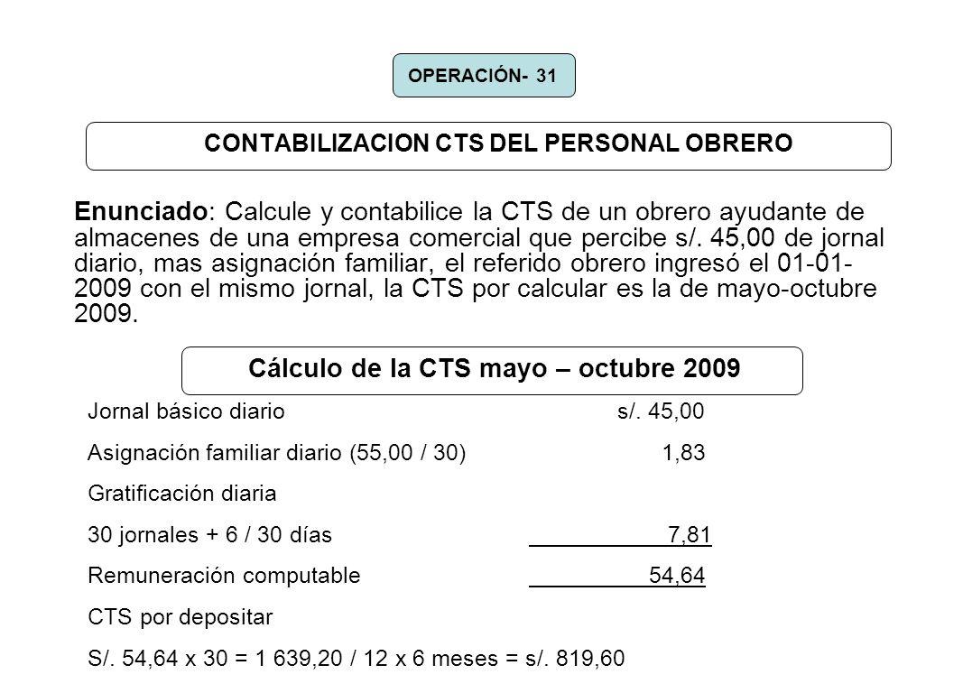 CONTABILIZACION CTS DEL PERSONAL OBRERO