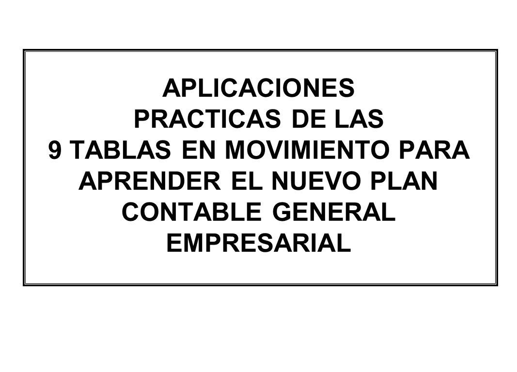 APLICACIONES PRACTICAS DE LAS 9 TABLAS EN MOVIMIENTO PARA APRENDER EL NUEVO PLAN CONTABLE GENERAL EMPRESARIAL
