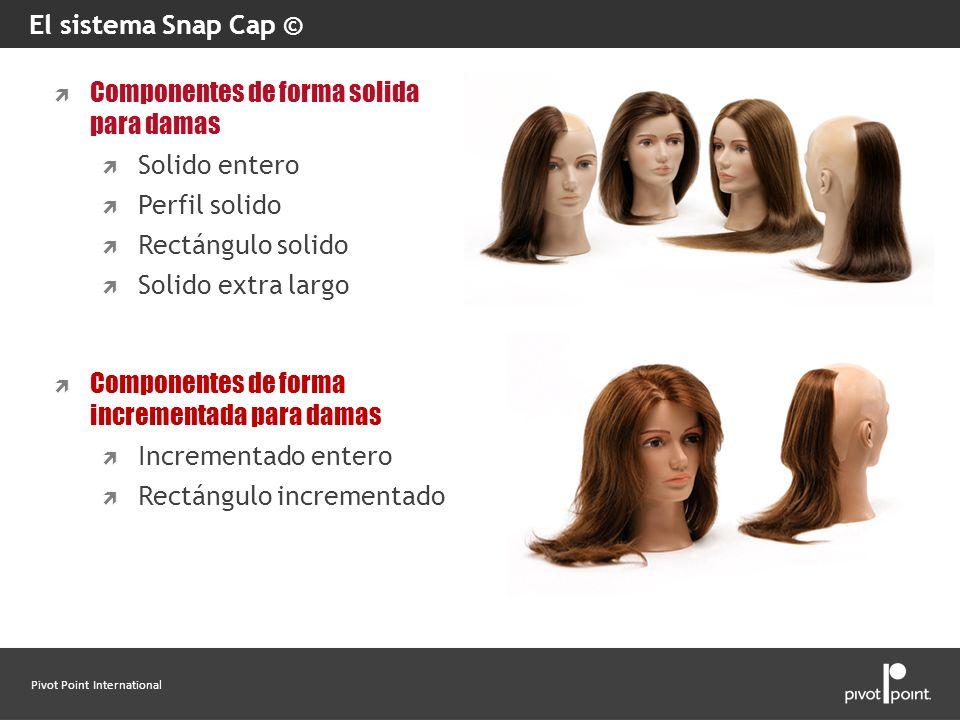 El sistema Snap Cap © Componentes de forma solida para damas. Solido entero. Perfil solido. Rectángulo solido.