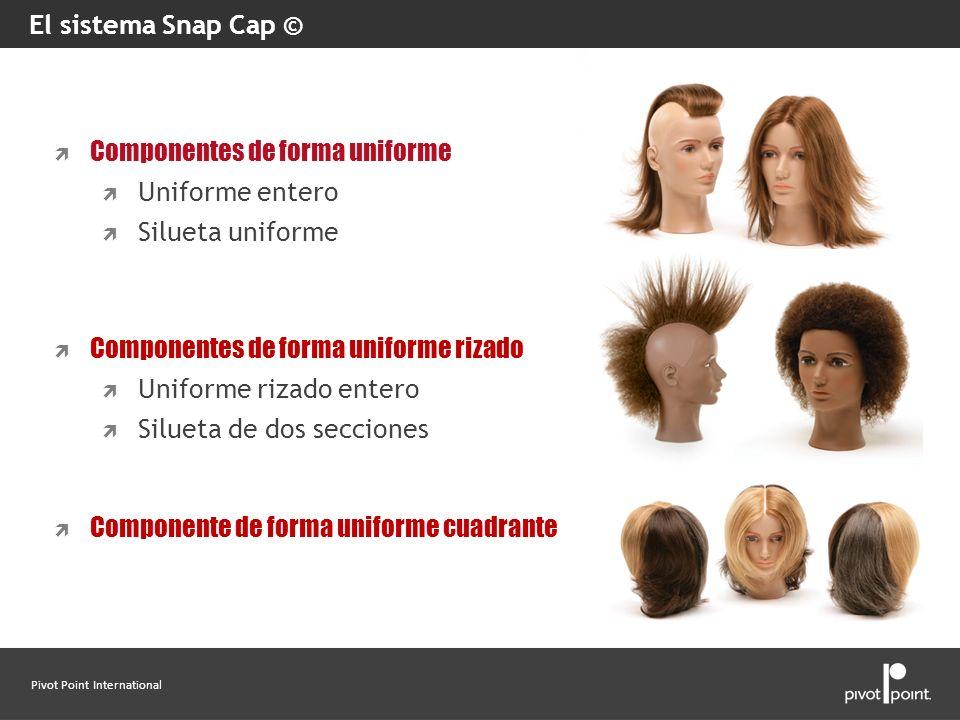 El sistema Snap Cap ©Componentes de forma uniforme. Uniforme entero. Silueta uniforme. Componentes de forma uniforme rizado.