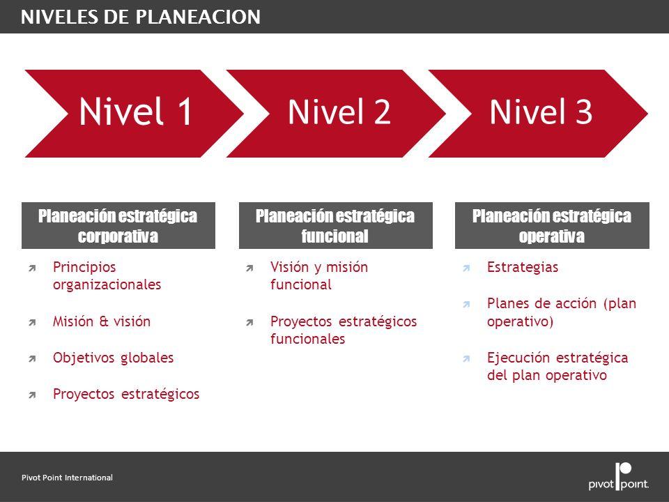 Nivel 1 Nivel 2 Nivel 3 NIVELES DE PLANEACION