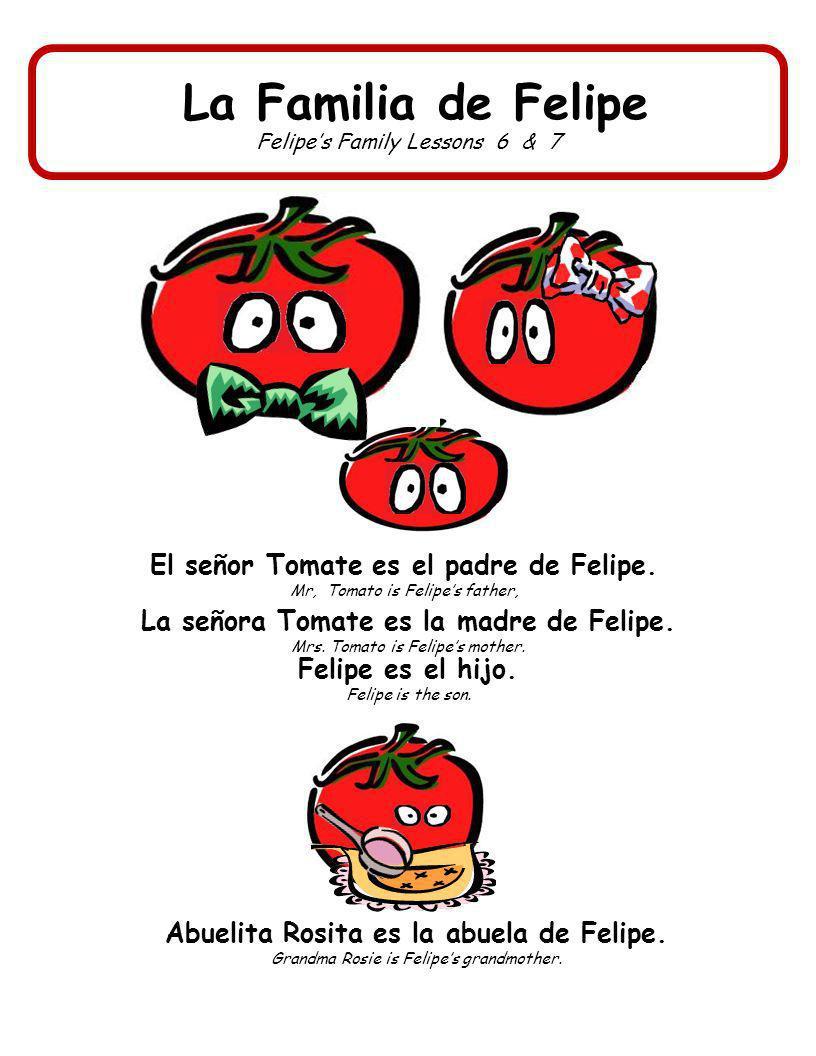 La Familia de Felipe El señor Tomate es el padre de Felipe.