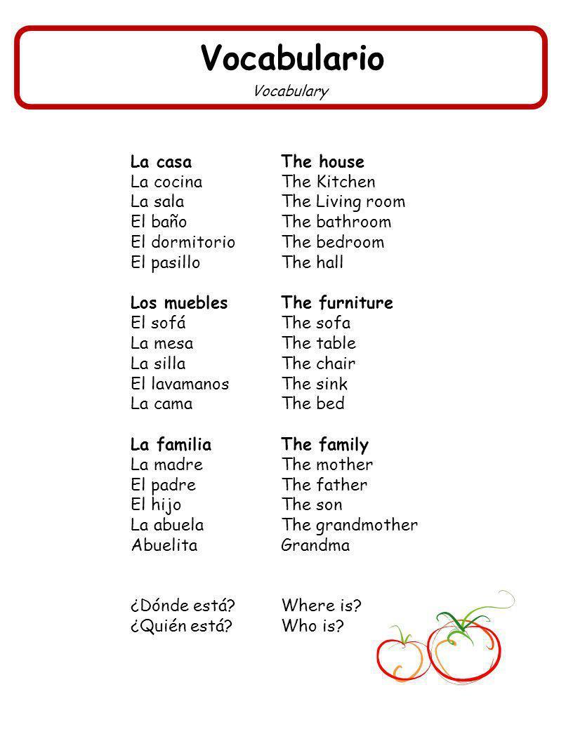 Vocabulario La casa The house La cocina The Kitchen