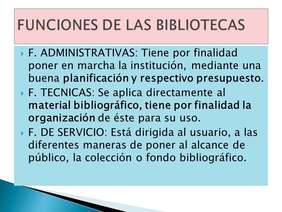 FUNCIONES DE LAS BIBLIOTECAS