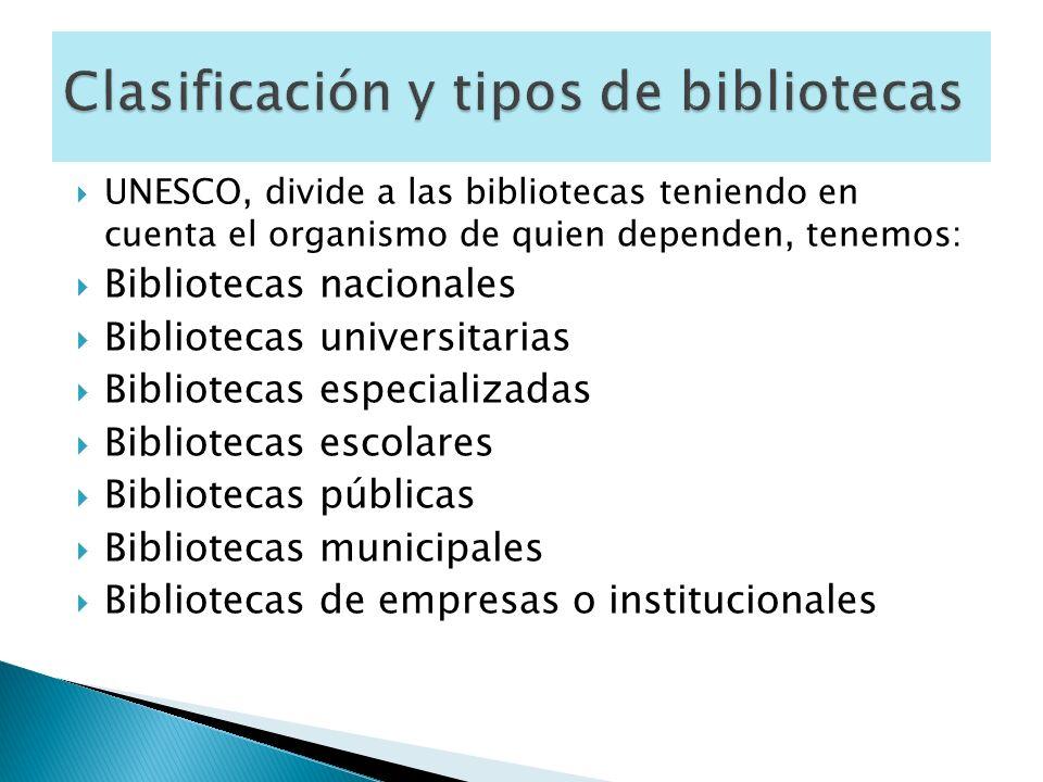 Clasificación y tipos de bibliotecas