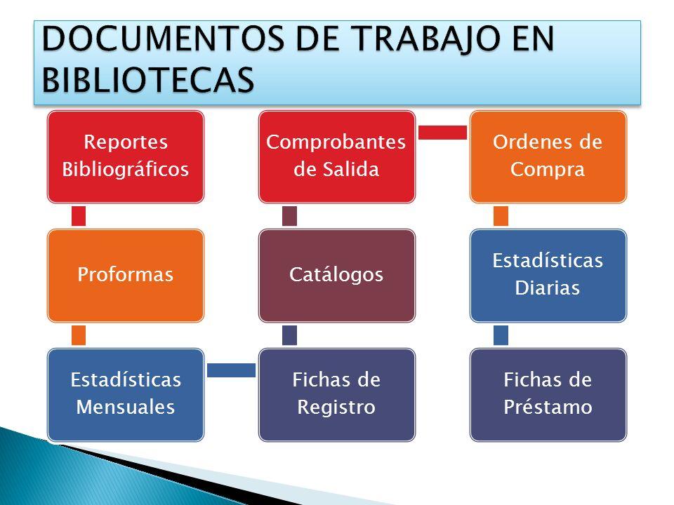 DOCUMENTOS DE TRABAJO EN BIBLIOTECAS
