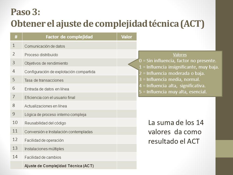 Paso 3: Obtener el ajuste de complejidad técnica (ACT)