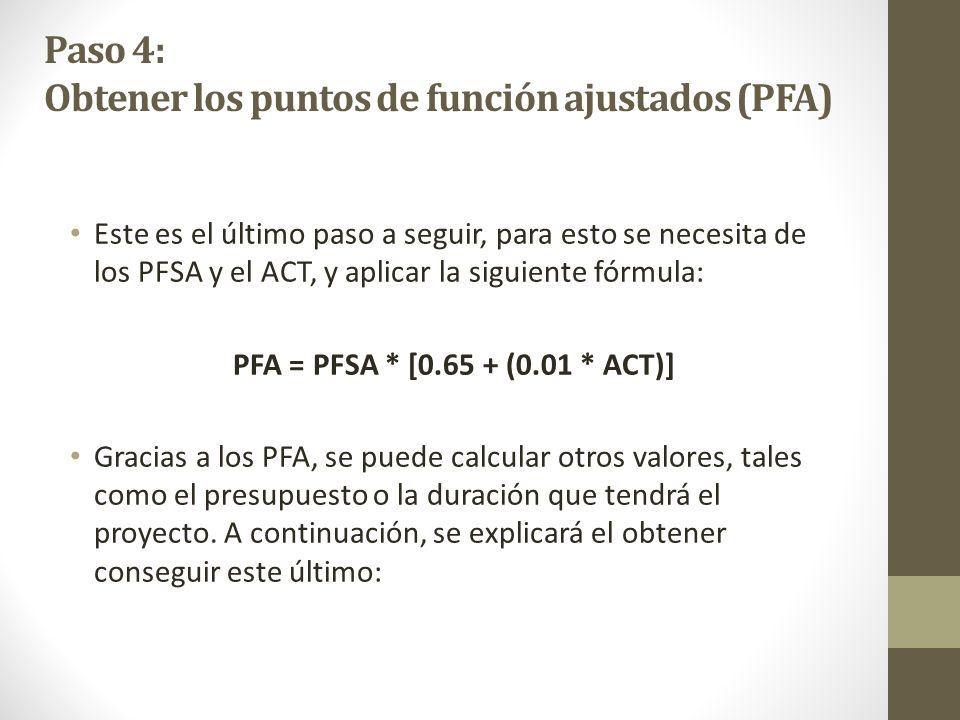 Paso 4: Obtener los puntos de función ajustados (PFA)