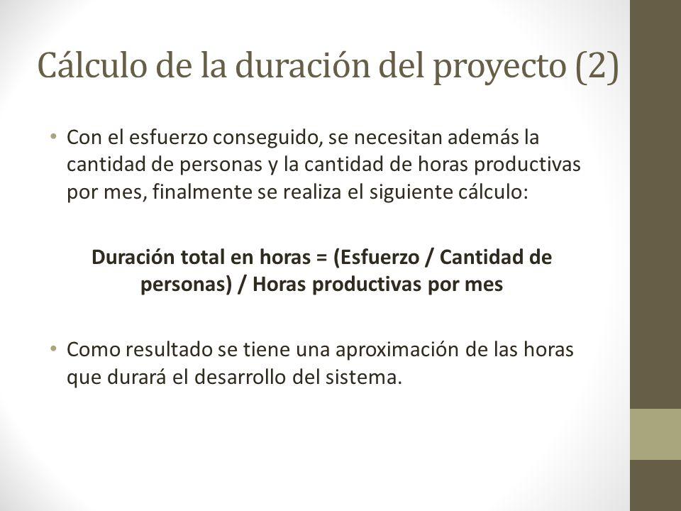 Cálculo de la duración del proyecto (2)