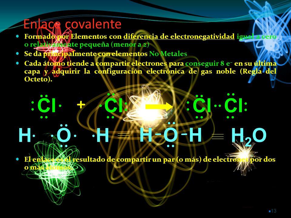 Enlace covalente Formado por Elementos con diferencia de electronegatividad igual a cero o relativamente pequeña (menor a 2)