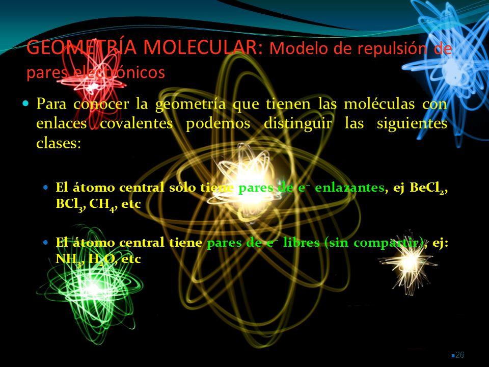 GEOMETRÍA MOLECULAR: Modelo de repulsión de pares electrónicos