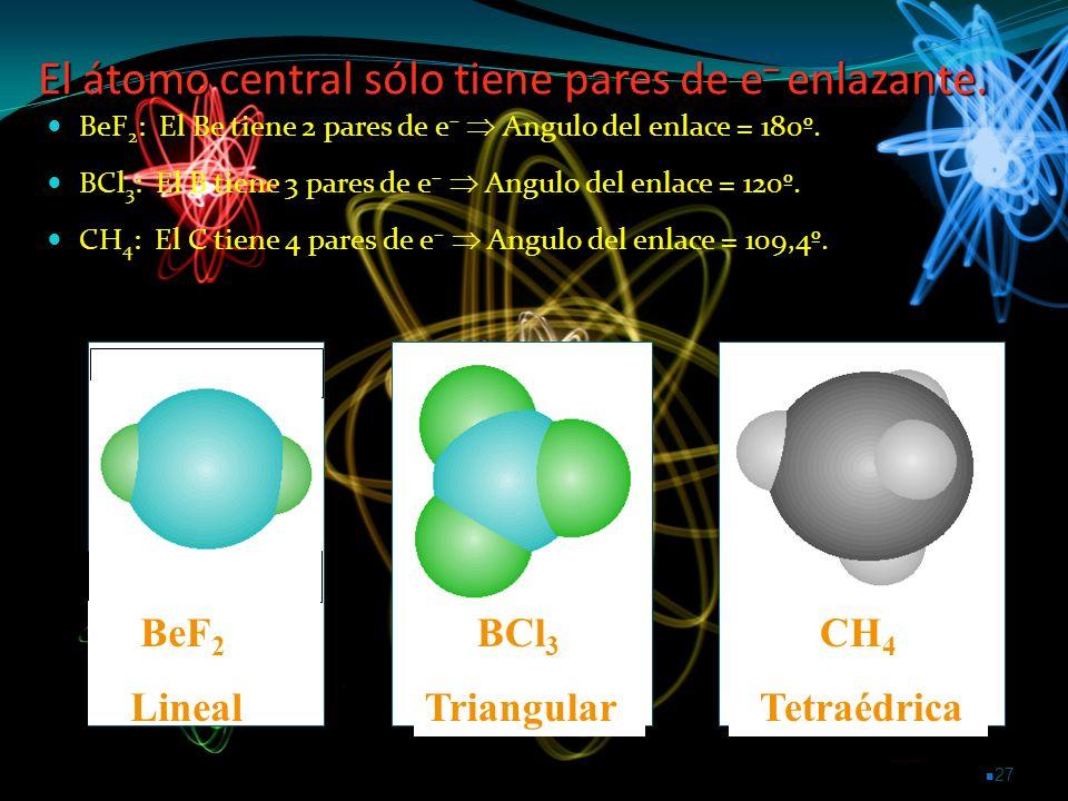 El átomo central sólo tiene pares de e– enlazante.