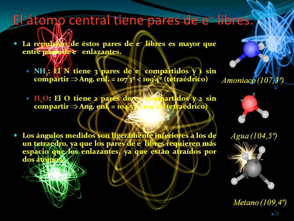 El átomo central tiene pares de e– libres.
