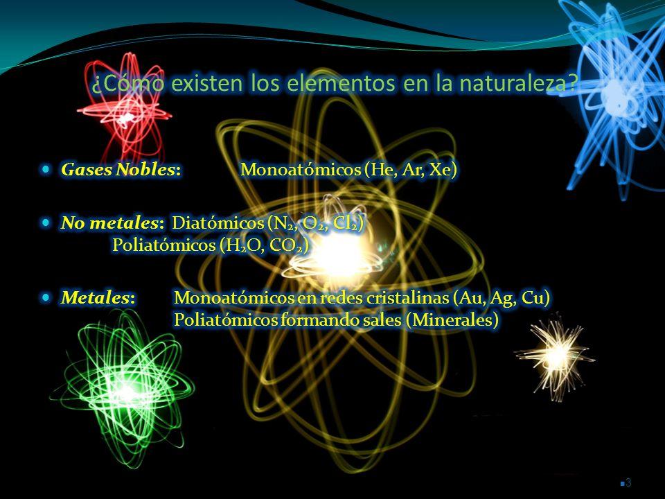 ¿Cómo existen los elementos en la naturaleza