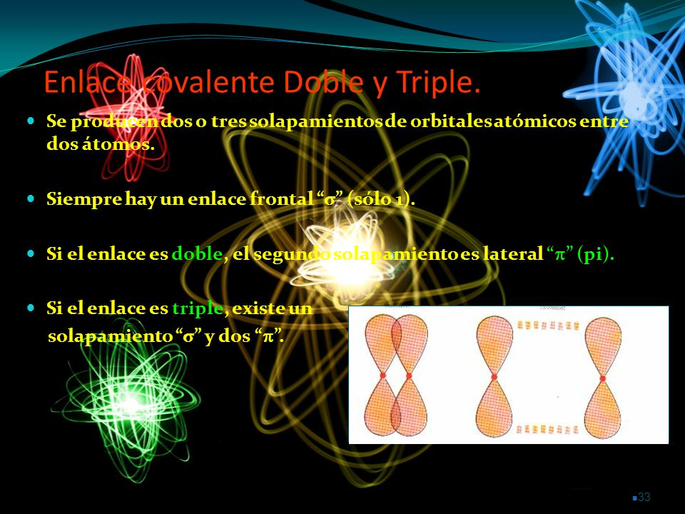 Enlace covalente Doble y Triple.