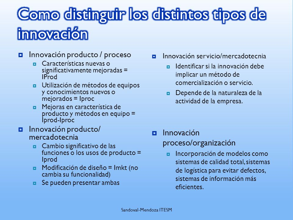 Como distinguir los distintos tipos de innovación