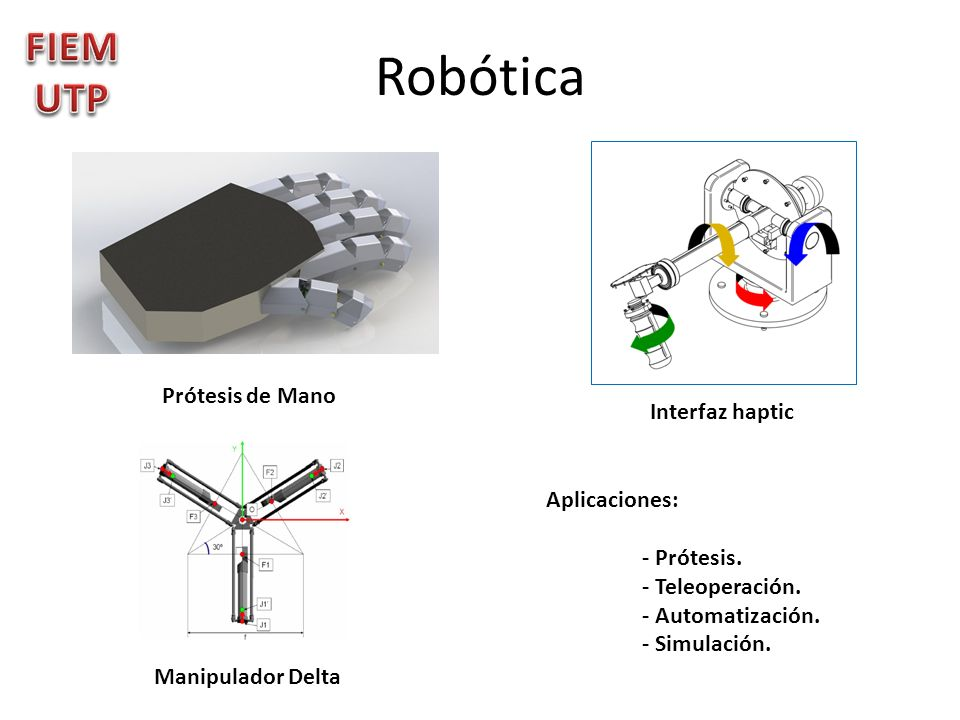 Robótica FIEMUTP Prótesis de Mano Interfaz haptic Aplicaciones: