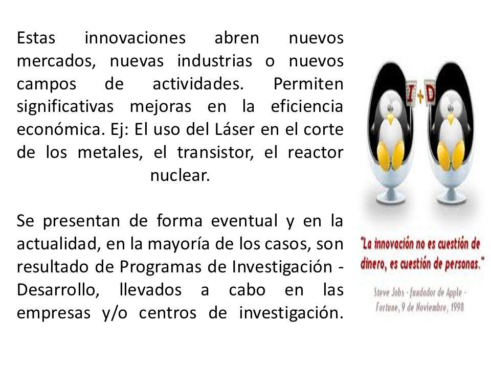 Estas innovaciones abren nuevos mercados, nuevas industrias o nuevos campos de actividades.