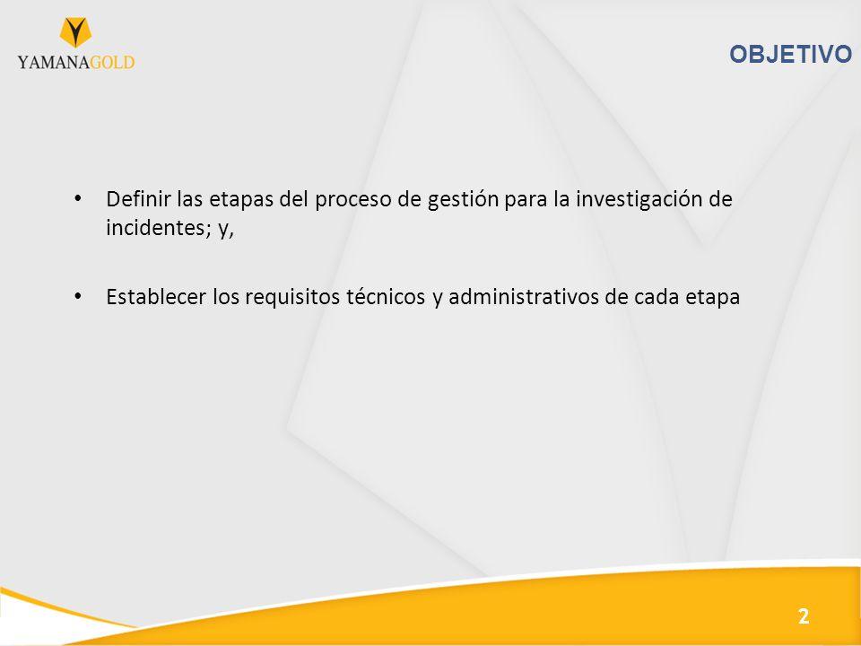 OBJETIVO Definir las etapas del proceso de gestión para la investigación de incidentes; y,