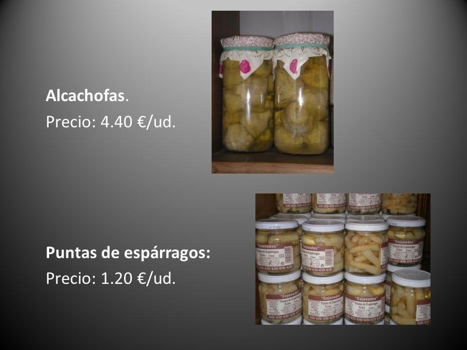Alcachofas. Precio: 4. 40 €/ud. Puntas de espárragos: Precio: 1