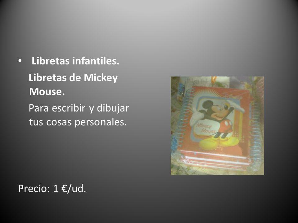 Libretas infantiles. Libretas de Mickey Mouse. Para escribir y dibujar tus cosas personales.