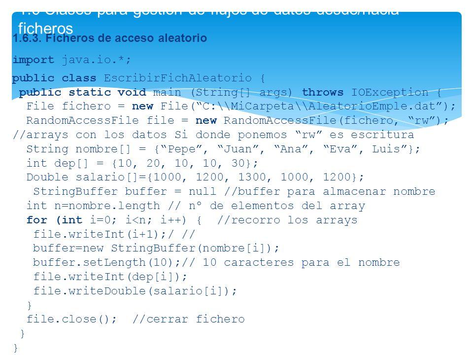 1.6 Clases para gestión de flujos de datos desde/hacia ficheros