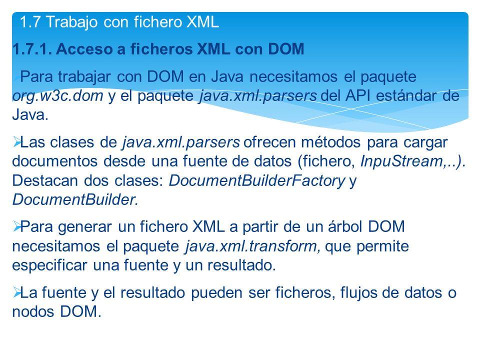 1.7 Trabajo con fichero XML