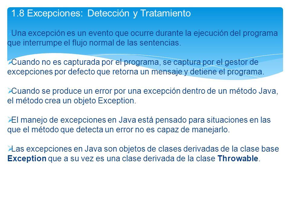 1.8 Excepciones: Detección y Tratamiento