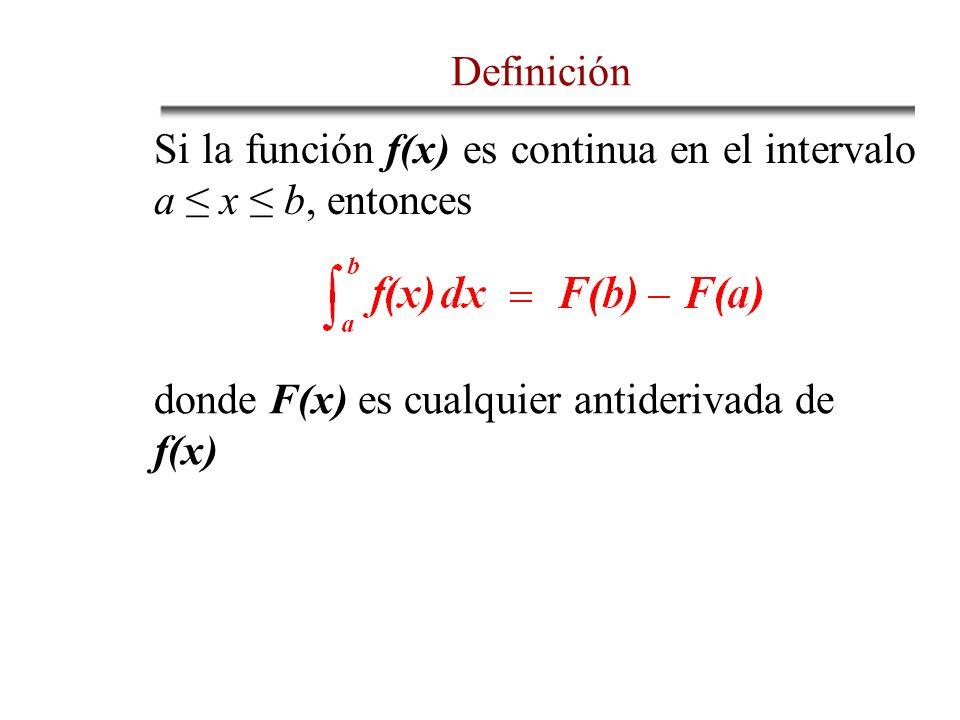 DefiniciónSi la función f(x) es continua en el intervalo a ≤ x ≤ b, entonces.