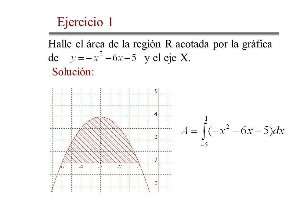Ejercicio 1 Halle el área de la región R acotada por la gráfica de y el eje X.
